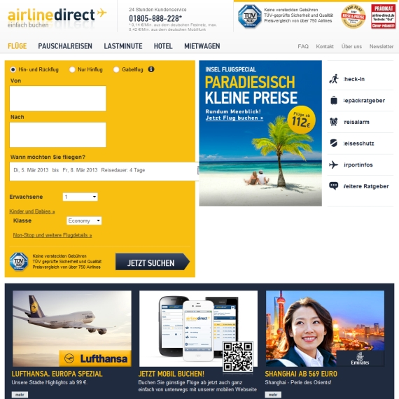 Die Webseite vom Airline-Direct.de Shop