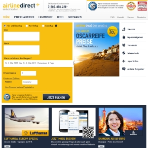 Ansicht vom Airline-Direct.de Shop