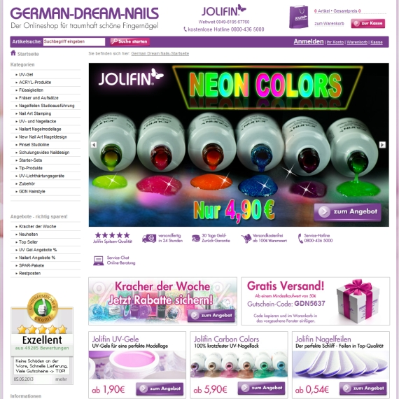 Die Webseite vom German-Dream-Nails.com Shop