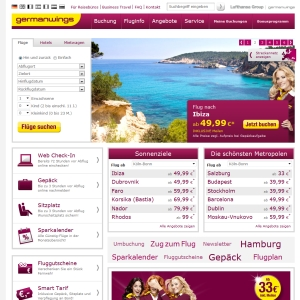 Ansicht vom Germanwings.com Shop