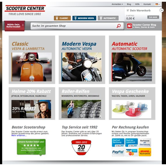 Die Webseite vom Scooter-Center.com Shop