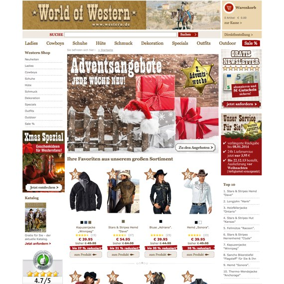Die Webseite vom World-of-Western.com Shop